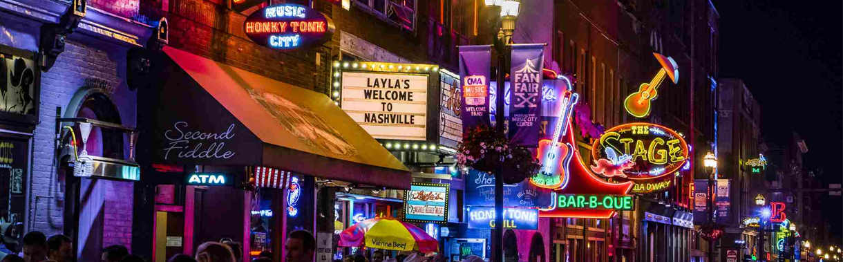 A photo of downtown Nashville, Broadway, used to promote the listen again feature you can use to listen to Ben's Country Music Show wherever you happen to be.